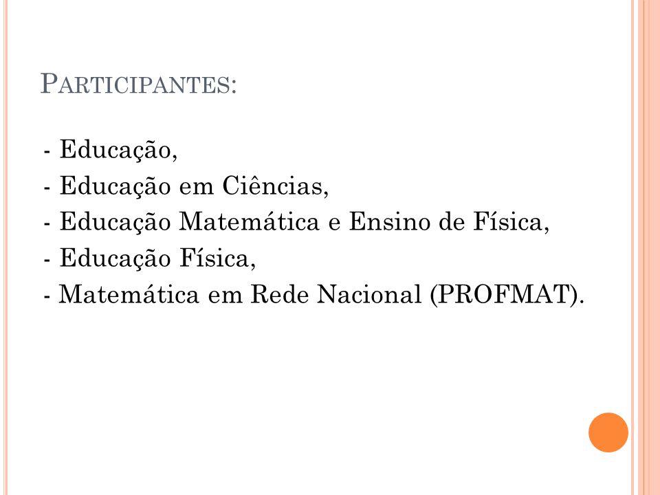 P ARTICIPANTES : - Educação, - Educação em Ciências, - Educação Matemática e Ensino de Física, - Educação Física, - Matemática em Rede Nacional (PROFMAT).