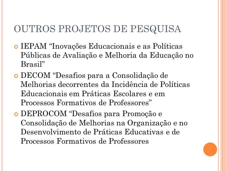 OUTROS PROJETOS DE PESQUISA IEPAM Inovações Educacionais e as Políticas Públicas de Avaliação e Melhoria da Educação no Brasil DECOM Desafios para a Consolidação de Melhorias decorrentes da Incidência de Políticas Educacionais em Práticas Escolares e em Processos Formativos de Professores DEPROCOM Desafios para Promoção e Consolidação de Melhorias na Organização e no Desenvolvimento de Práticas Educativas e de Processos Formativos de Professores