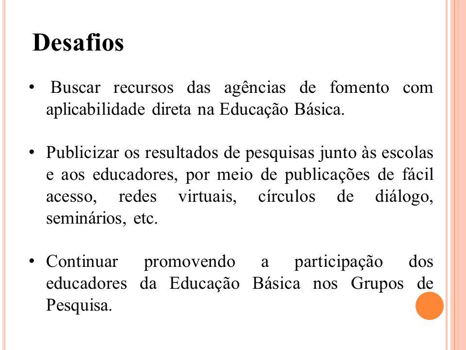 Buscar recursos das agências de fomento com aplicabilidade direta na Educação Básica.