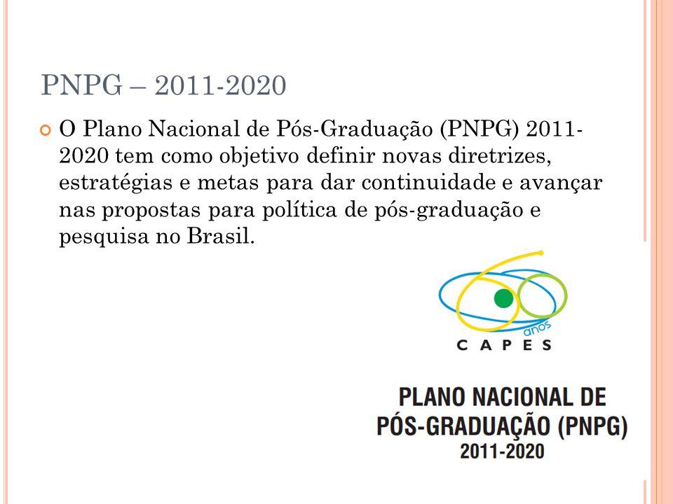PNPG – 2011-2020 O Plano Nacional de Pós-Graduação (PNPG) 2011- 2020 tem como objetivo definir novas diretrizes, estratégias e metas para dar continuidade e avançar nas propostas para política de pós-graduação e pesquisa no Brasil.