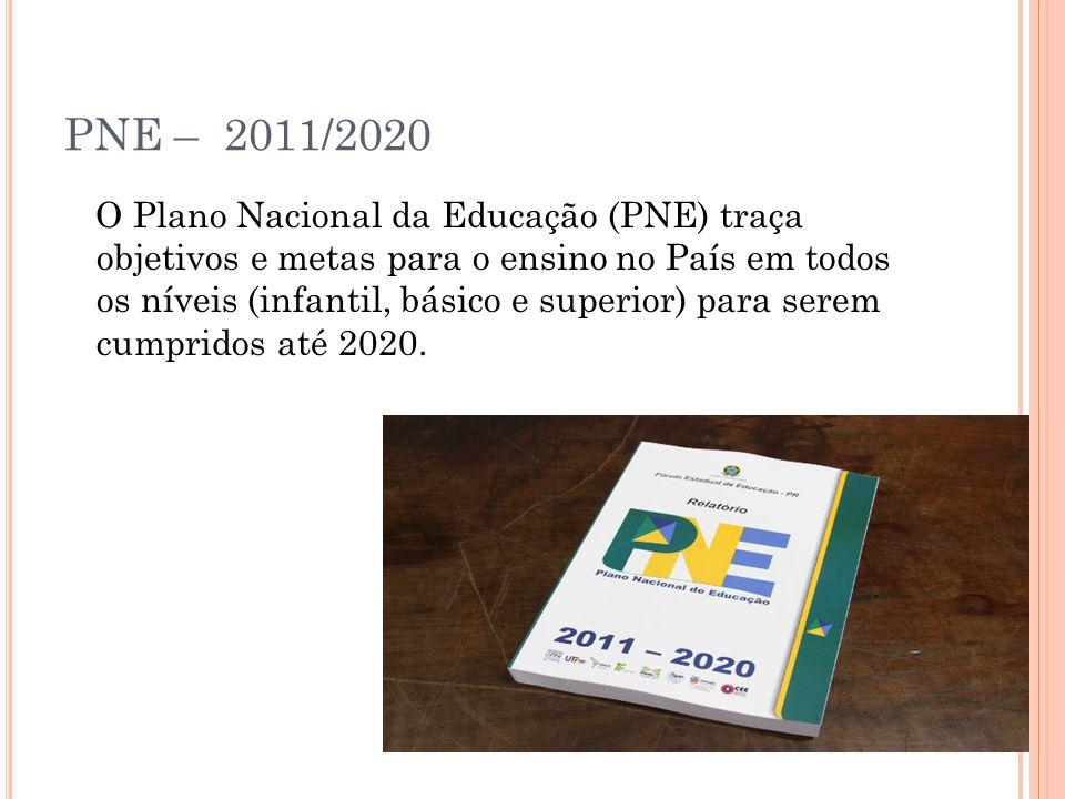 PNE – 2011/2020 O Plano Nacional da Educação (PNE) traça objetivos e metas para o ensino no País em todos os níveis (infantil, básico e superior) para serem cumpridos até 2020.