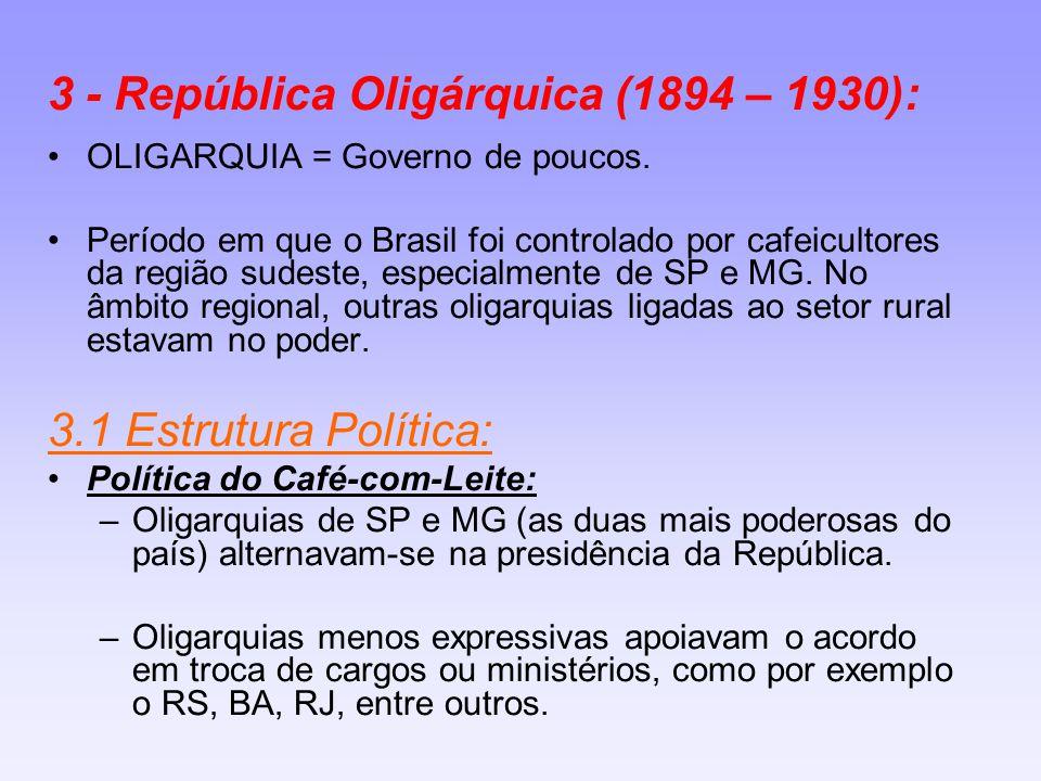 3 - República Oligárquica (1894 – 1930): OLIGARQUIA = Governo de poucos. Período em que o Brasil foi controlado por cafeicultores da região sudeste, e