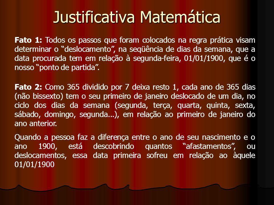 Justificativa Matemática Fato 1: Todos os passos que foram colocados na regra prática visam determinar o deslocamento, na seqüência de dias da semana,