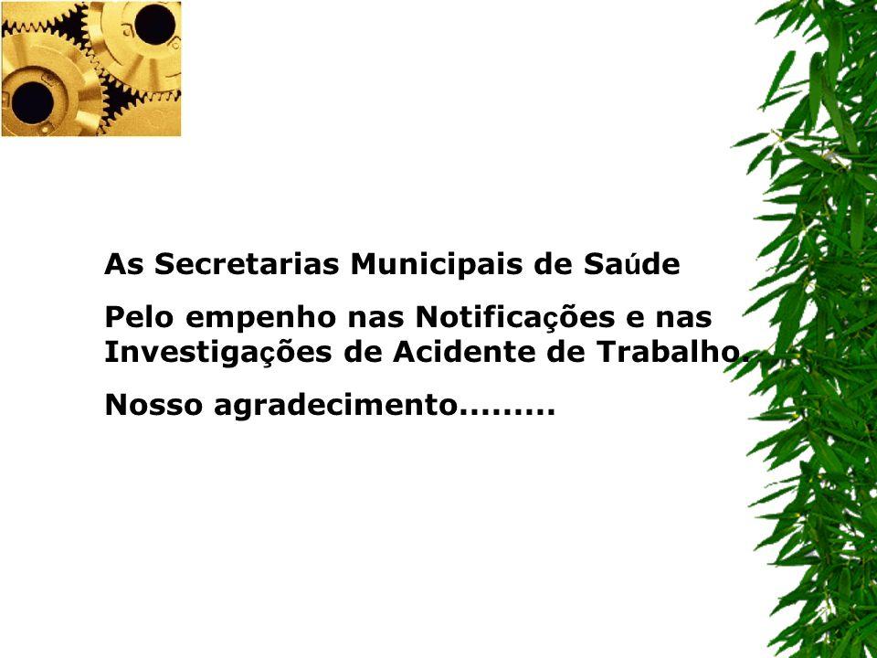 As Secretarias Municipais de Sa ú de Pelo empenho nas Notifica ç ões e nas Investiga ç ões de Acidente de Trabalho. Nosso agradecimento.........