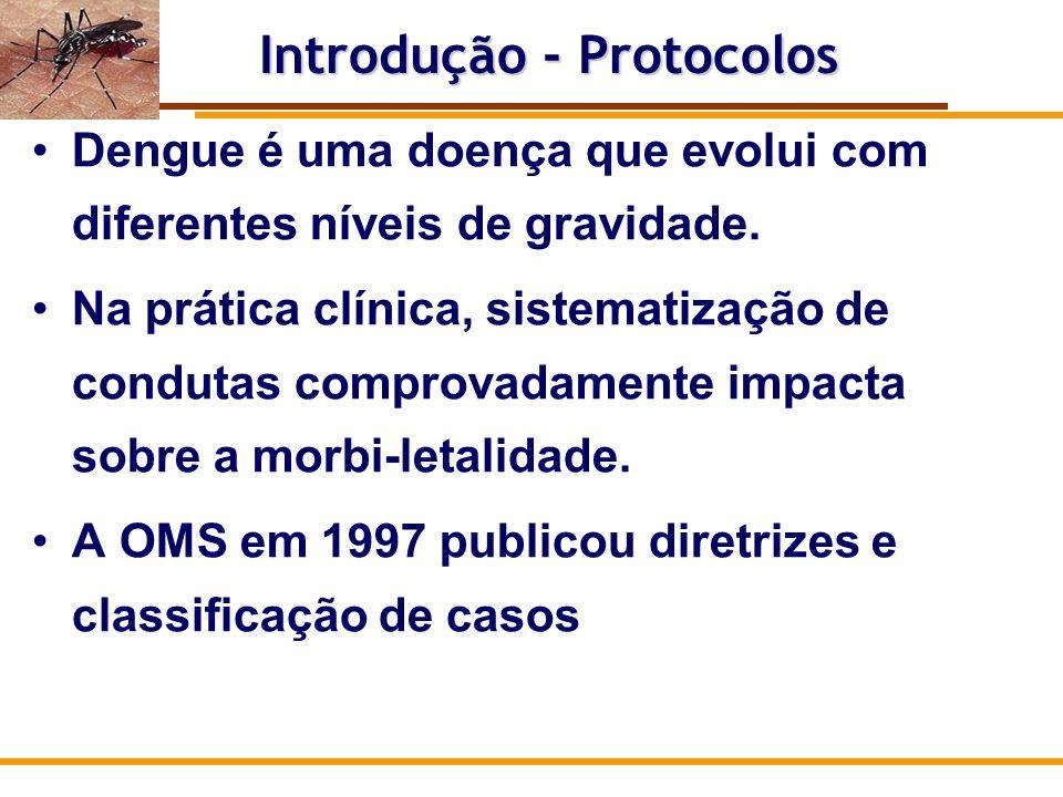 Documentos norteadores: 1.Guia OMS 1997 2.Manual do MS (3 edição), 3.Manual de pediatria do MS, 4.Protocolo do Rio de Janeiro (2010), 5.Protocolo Belo Horizonte (2011/2012), 6.Guia OPAS (2010); 7.Handbook on clinical management of dengue (2010), Protocolo Brasileiro – MS
