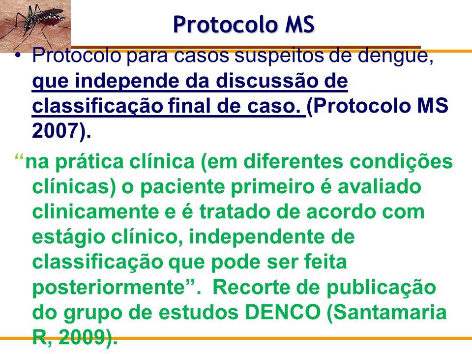 Modelo e Objetivos Nele, propõe-se uma abordagem clinico – evolutiva, baseada no reconhecimento de elementos clínico - laboratoriais e de condições associadas que podem ser indicativos de gravidade, com o objetivo de orientar a conduta terapêutica adequada para cada situação Orientar: local de atendimento, solicitação de exames, conduta, seguimento, etc Protocolo MS