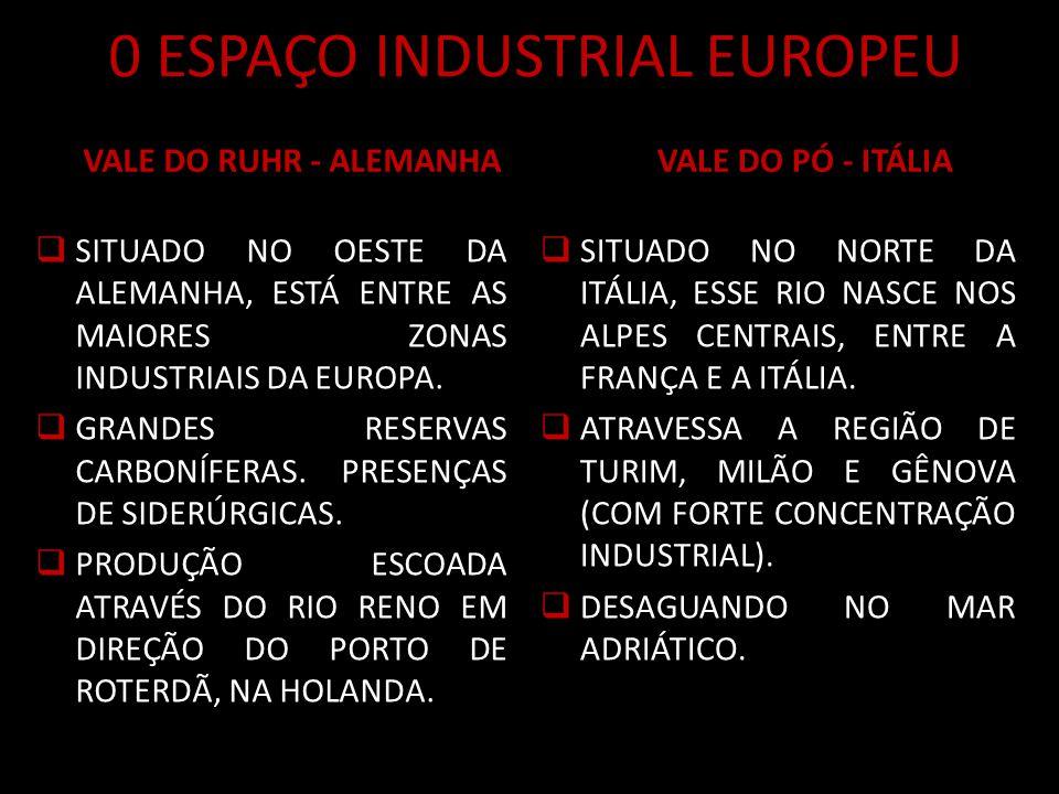 0 ESPAÇO INDUSTRIAL EUROPEU VALE DO RUHR - ALEMANHA SITUADO NO OESTE DA ALEMANHA, ESTÁ ENTRE AS MAIORES ZONAS INDUSTRIAIS DA EUROPA.