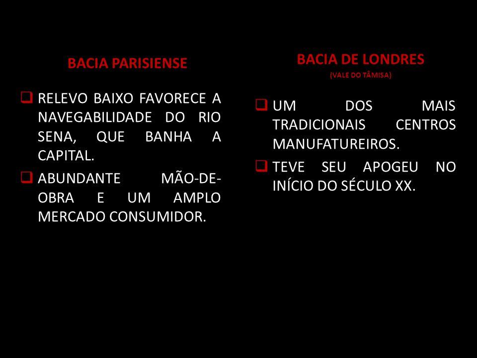 BACIA PARISIENSE RELEVO BAIXO FAVORECE A NAVEGABILIDADE DO RIO SENA, QUE BANHA A CAPITAL.
