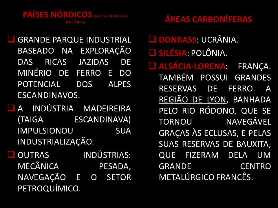 PAÍSES NÓRDICOS (SUÉCIA, NORUEGA E FINLÂNDIA ) GRANDE PARQUE INDUSTRIAL BASEADO NA EXPLORAÇÃO DAS RICAS JAZIDAS DE MINÉRIO DE FERRO E DO POTENCIAL DOS ALPES ESCANDINAVOS.
