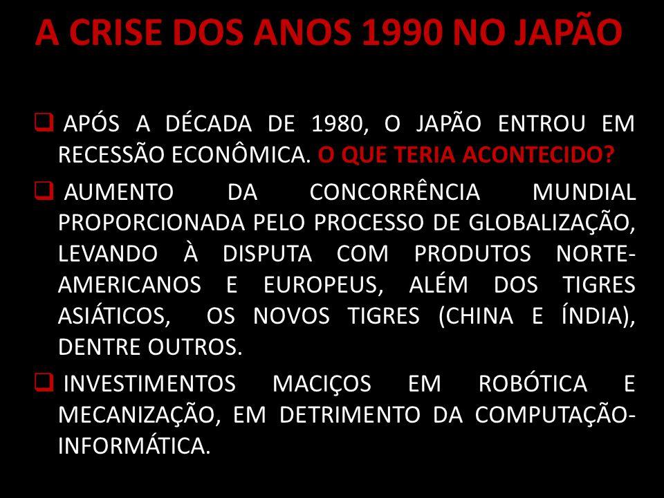 A CRISE DOS ANOS 1990 NO JAPÃO APÓS A DÉCADA DE 1980, O JAPÃO ENTROU EM RECESSÃO ECONÔMICA.