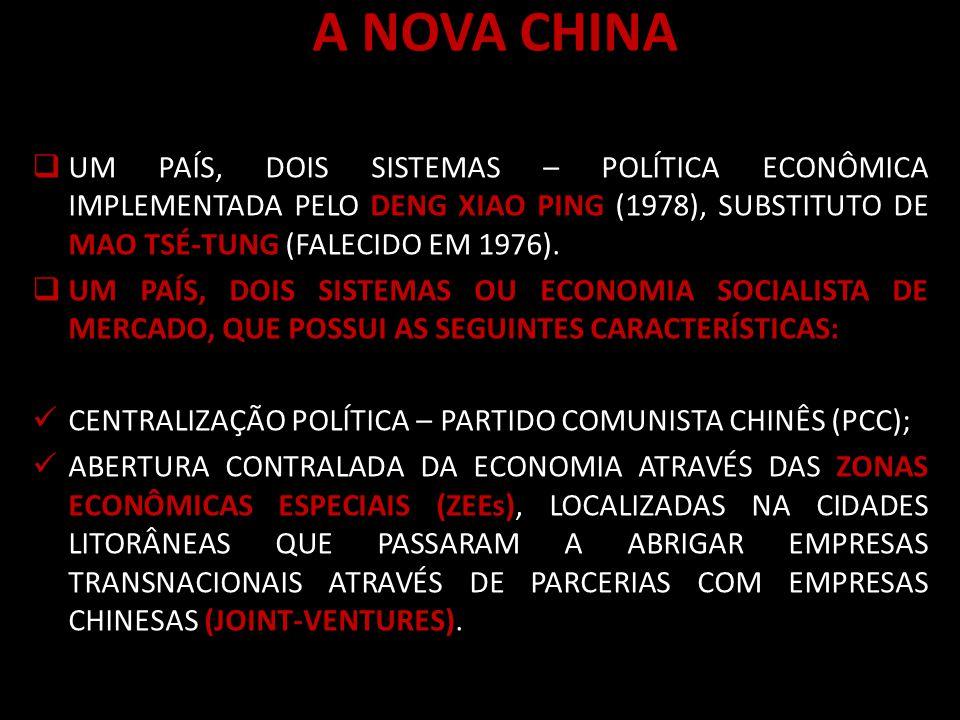 A NOVA CHINA UM PAÍS, DOIS SISTEMAS – POLÍTICA ECONÔMICA IMPLEMENTADA PELO DENG XIAO PING (1978), SUBSTITUTO DE MAO TSÉ-TUNG (FALECIDO EM 1976).