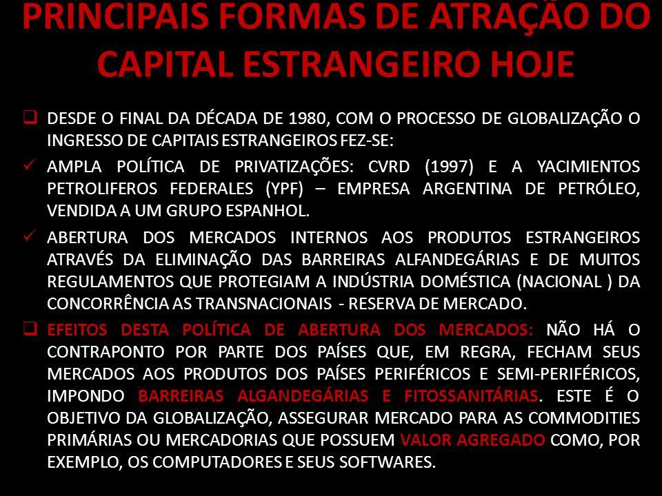PRINCIPAIS FORMAS DE ATRAÇÃO DO CAPITAL ESTRANGEIRO HOJE DESDE O FINAL DA DÉCADA DE 1980, COM O PROCESSO DE GLOBALIZAÇÃO O INGRESSO DE CAPITAIS ESTRANGEIROS FEZ-SE: AMPLA POLÍTICA DE PRIVATIZAÇÕES: CVRD (1997) E A YACIMIENTOS PETROLIFEROS FEDERALES (YPF) – EMPRESA ARGENTINA DE PETRÓLEO, VENDIDA A UM GRUPO ESPANHOL.