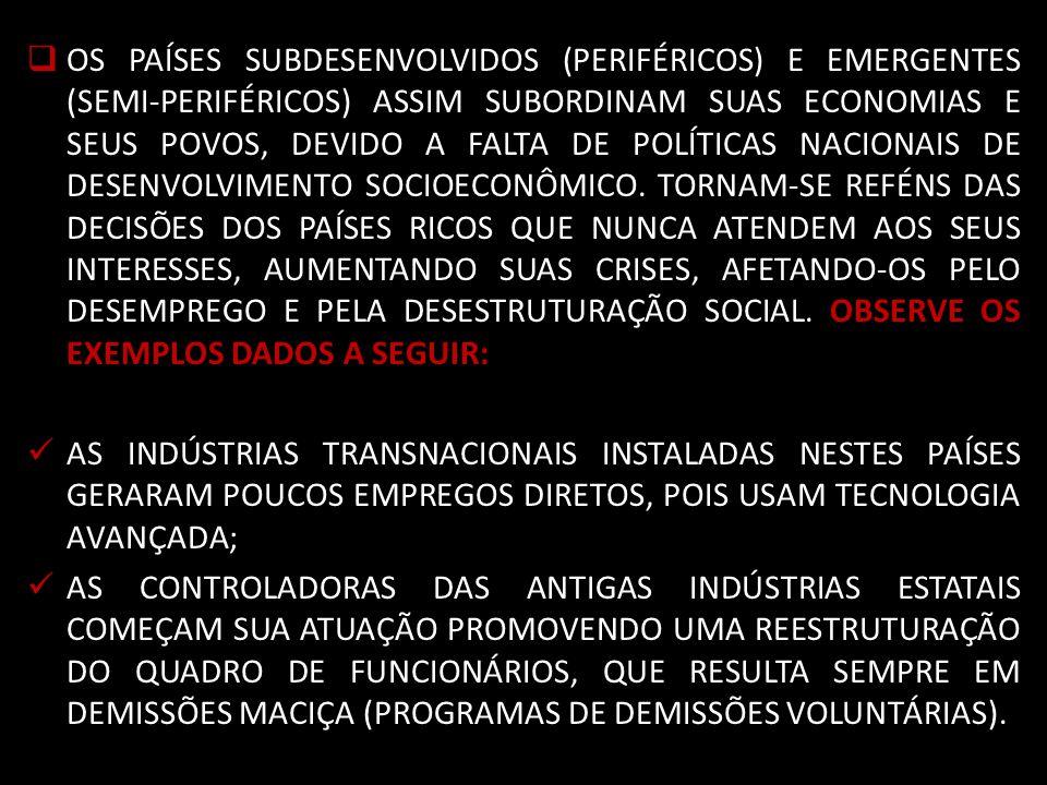 OS PAÍSES SUBDESENVOLVIDOS (PERIFÉRICOS) E EMERGENTES (SEMI-PERIFÉRICOS) ASSIM SUBORDINAM SUAS ECONOMIAS E SEUS POVOS, DEVIDO A FALTA DE POLÍTICAS NACIONAIS DE DESENVOLVIMENTO SOCIOECONÔMICO.