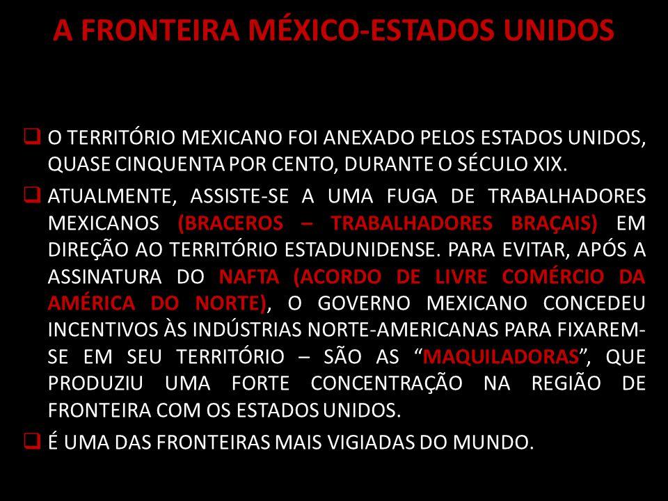 A FRONTEIRA MÉXICO-ESTADOS UNIDOS O TERRITÓRIO MEXICANO FOI ANEXADO PELOS ESTADOS UNIDOS, QUASE CINQUENTA POR CENTO, DURANTE O SÉCULO XIX.