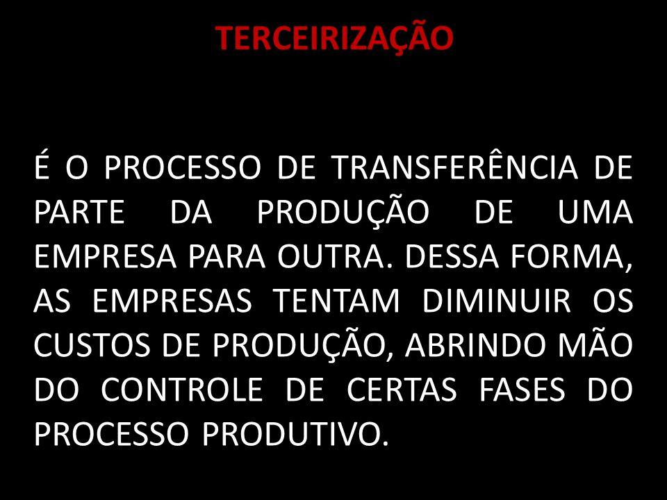 TERCEIRIZAÇÃO É O PROCESSO DE TRANSFERÊNCIA DE PARTE DA PRODUÇÃO DE UMA EMPRESA PARA OUTRA.