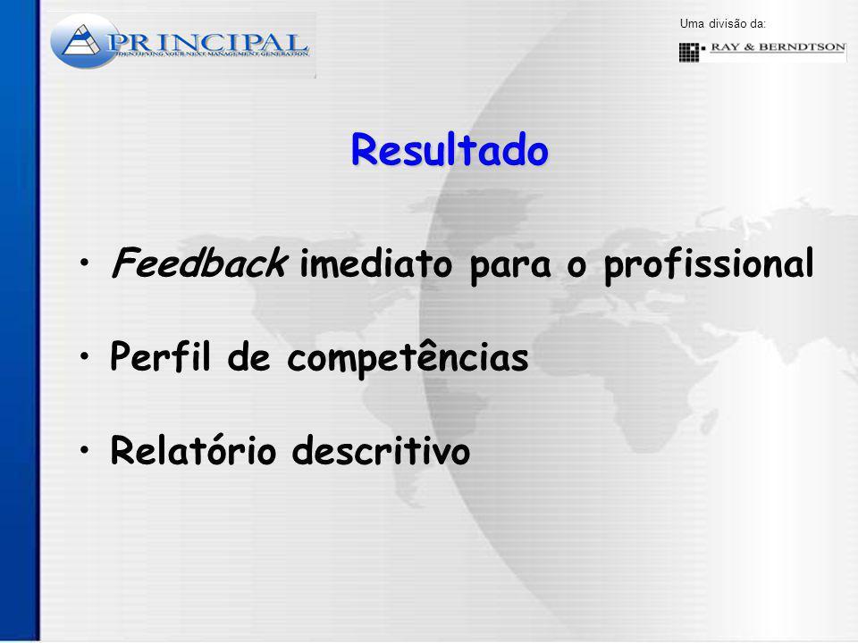 Uma divisão da: Feedback imediato para o profissional Resultado Perfil de competências Relatório descritivo