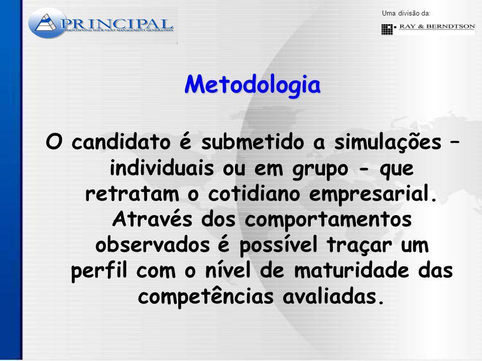 Uma divisão da: O candidato é submetido a simulações – individuais ou em grupo - que retratam o cotidiano empresarial.