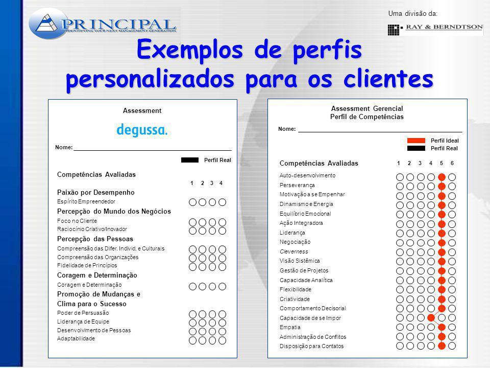 Uma divisão da: Exemplos de perfis personalizados para os clientes Assessment Nome: Paixão por Desempenho Espírito Empreendedor Percepção do Mundo dos Negócios Foco no Cliente Raciocínio Criativo/Inovador Percepção das Pessoas Compreensão das Difer.