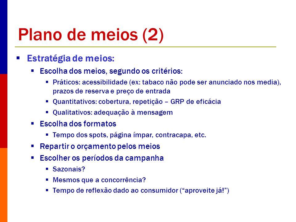 Plano de meios (2) Estratégia de meios: Escolha dos meios, segundo os critérios: Práticos: acessibilidade (ex: tabaco não pode ser anunciado nos media