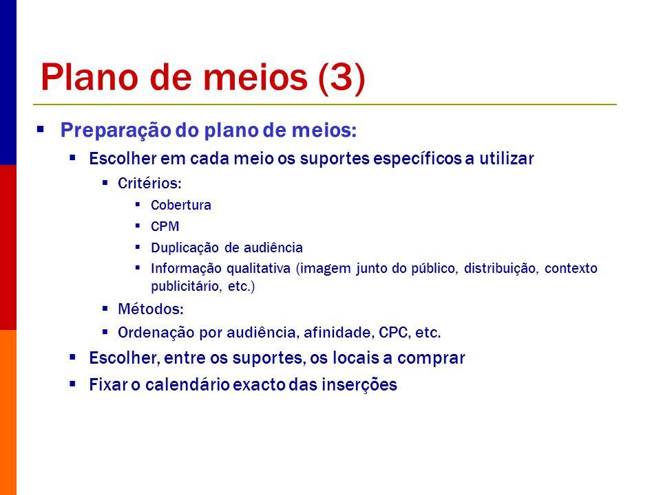 Plano de meios (3) Preparação do plano de meios: Escolher em cada meio os suportes específicos a utilizar Critérios: Cobertura CPM Duplicação de audiê