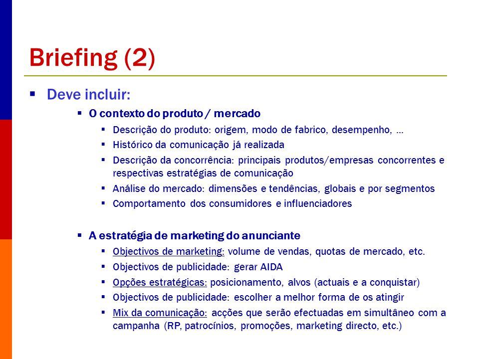 Briefing (2) Deve incluir: O contexto do produto / mercado Descrição do produto: origem, modo de fabrico, desempenho,... Histórico da comunicação já r