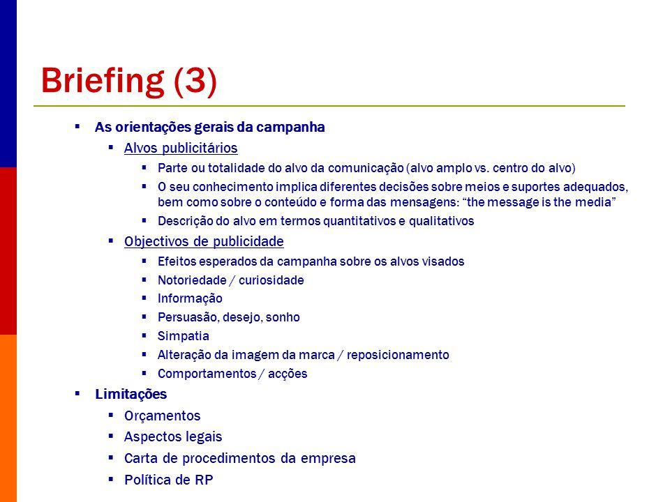 Briefing (3) As orientações gerais da campanha Alvos publicitários Parte ou totalidade do alvo da comunicação (alvo amplo vs. centro do alvo) O seu co