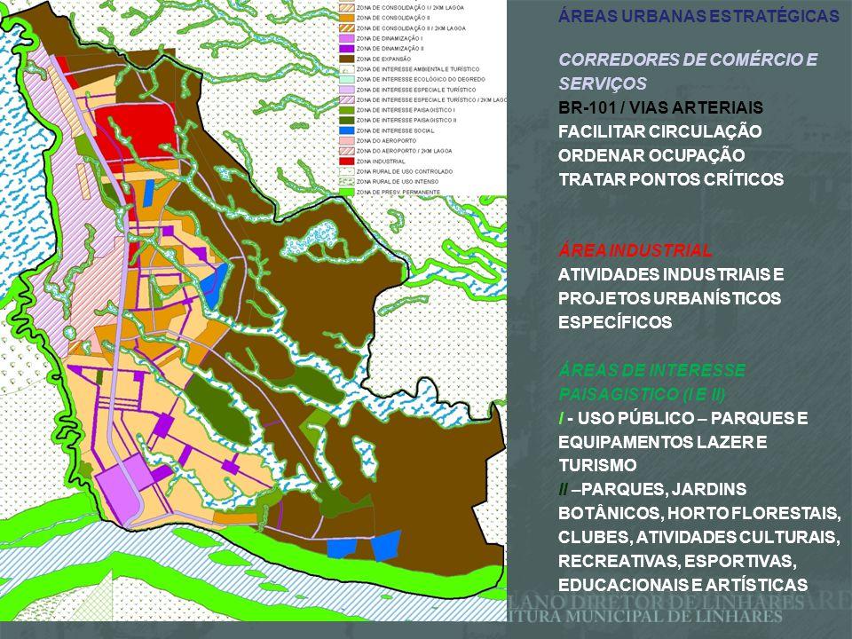 ÁREAS URBANAS ESTRATÉGICAS ÁREA DE INTERESSE TURÍSTICO E DE LAZER 2 Km EM TORNO LAGOAS JUPARANÃ E JUPARANÃ MIRIM RESPEITAR LEGISLAÇÃO ESTADUAL DE PARCELAMENTO DO SOLO 7943/2004 ÁREAS DE LAZER PÚBLICAS - ACESSO PÚBLICO A ÁGUA E PRAIAS PRIORIZAR EMPREENDIMENTOS LIGADOS AO TURISMO SUSTENTÁVEL ÁREA DO AEROPORTO AMPLIAÇÃO, MELHORIAS E REGULARIZAÇÃO