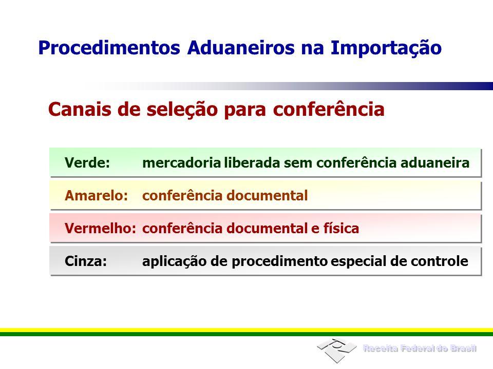 Receita Federal do Brasil Verde:mercadoria liberada sem conferência aduaneira Canais de seleção para conferência Amarelo:conferência documental Vermel
