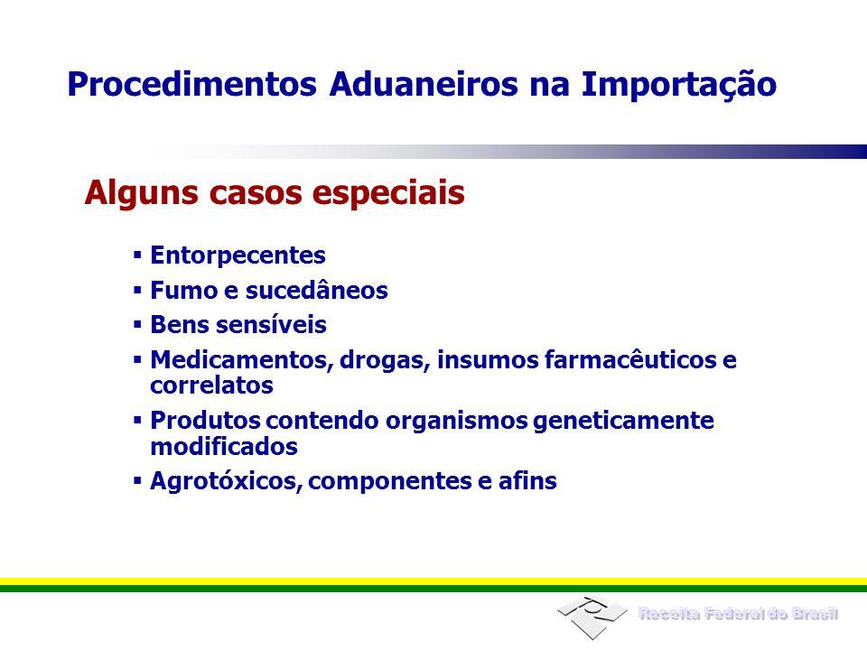 Receita Federal do Brasil Entorpecentes Fumo e sucedâneos Bens sensíveis Medicamentos, drogas, insumos farmacêuticos e correlatos Produtos contendo or