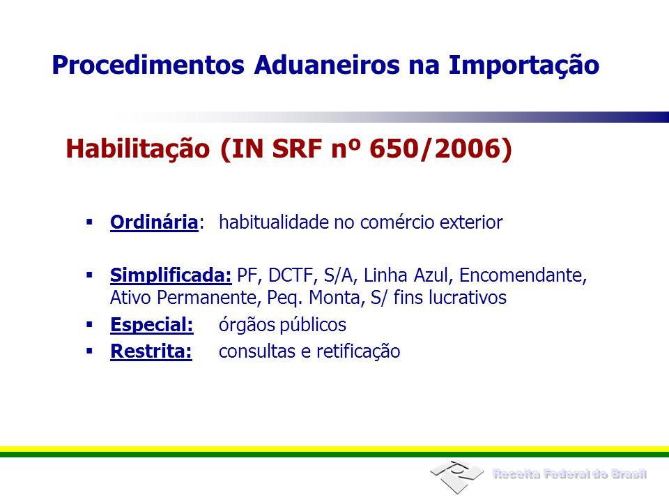 Receita Federal do Brasil Licenciamento de importação (LI), se exigível -Registro do LI no próprio Siscomex -Deferimento a cargo da Secex ou dos órgãos anuentes, conforme o caso Inexistência de erros no preenchimento -Diagnóstico no próprio sistema Pré-requisitos no registro da declaração Procedimentos Aduaneiros na Importação