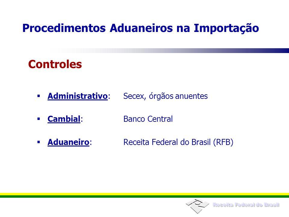 Receita Federal do Brasil Administrativo:Secex, órgãos anuentes Cambial:Banco Central Aduaneiro:Receita Federal do Brasil (RFB) Procedimentos Aduaneir