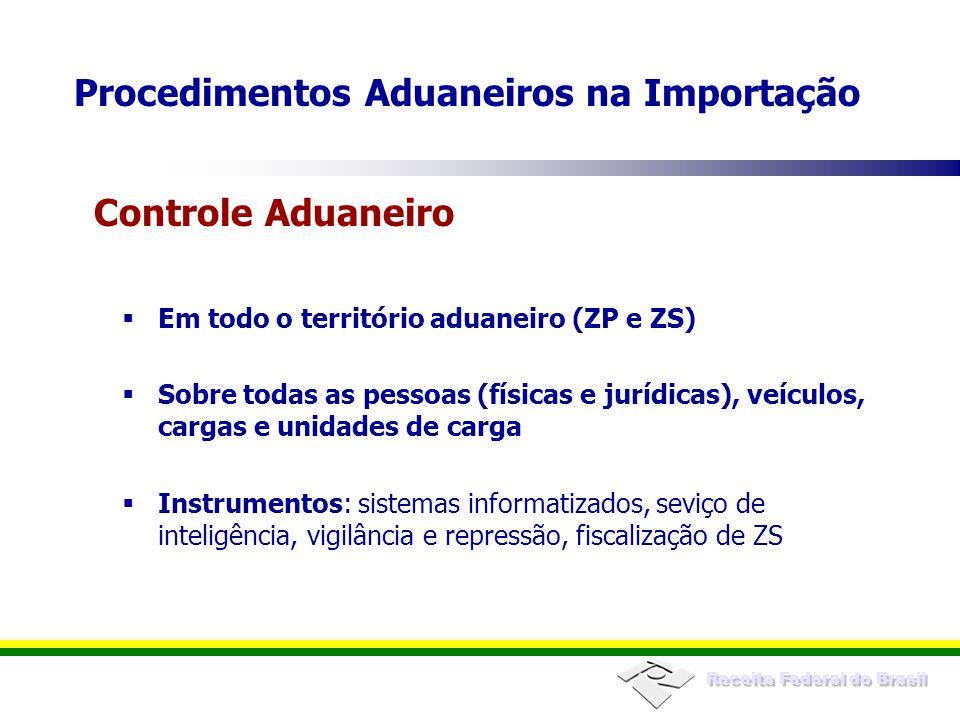 Receita Federal do Brasil Em todo o território aduaneiro (ZP e ZS) Sobre todas as pessoas (físicas e jurídicas), veículos, cargas e unidades de carga