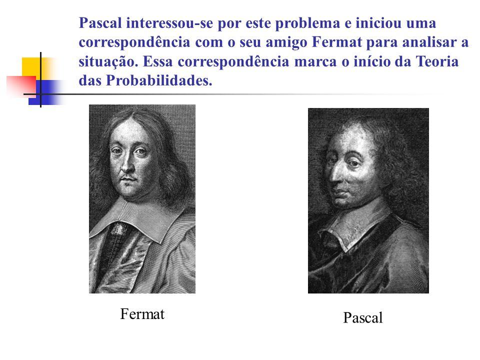 Pascal interessou-se por este problema e iniciou uma correspondência com o seu amigo Fermat para analisar a situação.