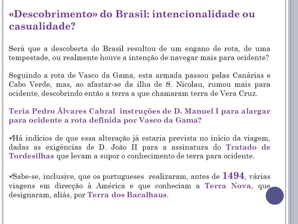 «Descobrimento» do Brasil: intencionalidade ou casualidade? Será que a descoberta do Brasil resultou de um engano de rota, de uma tempestade, ou realm