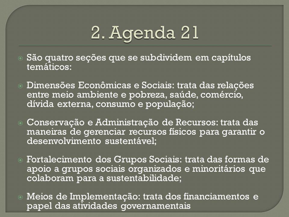 São quatro seções que se subdividem em capítulos temáticos: Dimensões Econômicas e Sociais: trata das relações entre meio ambiente e pobreza, saúde, c