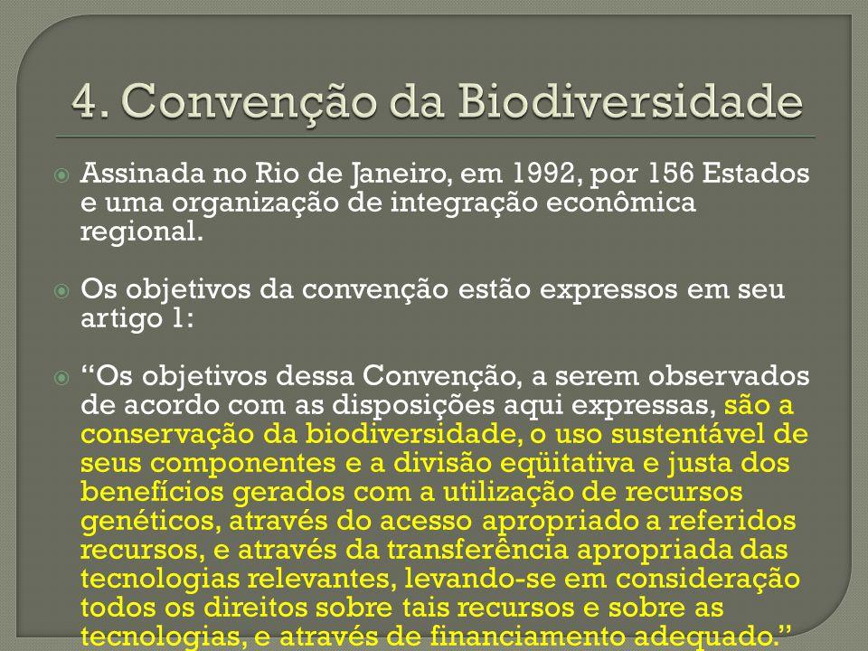 Assinada no Rio de Janeiro, em 1992, por 156 Estados e uma organização de integração econômica regional. Os objetivos da convenção estão expressos em