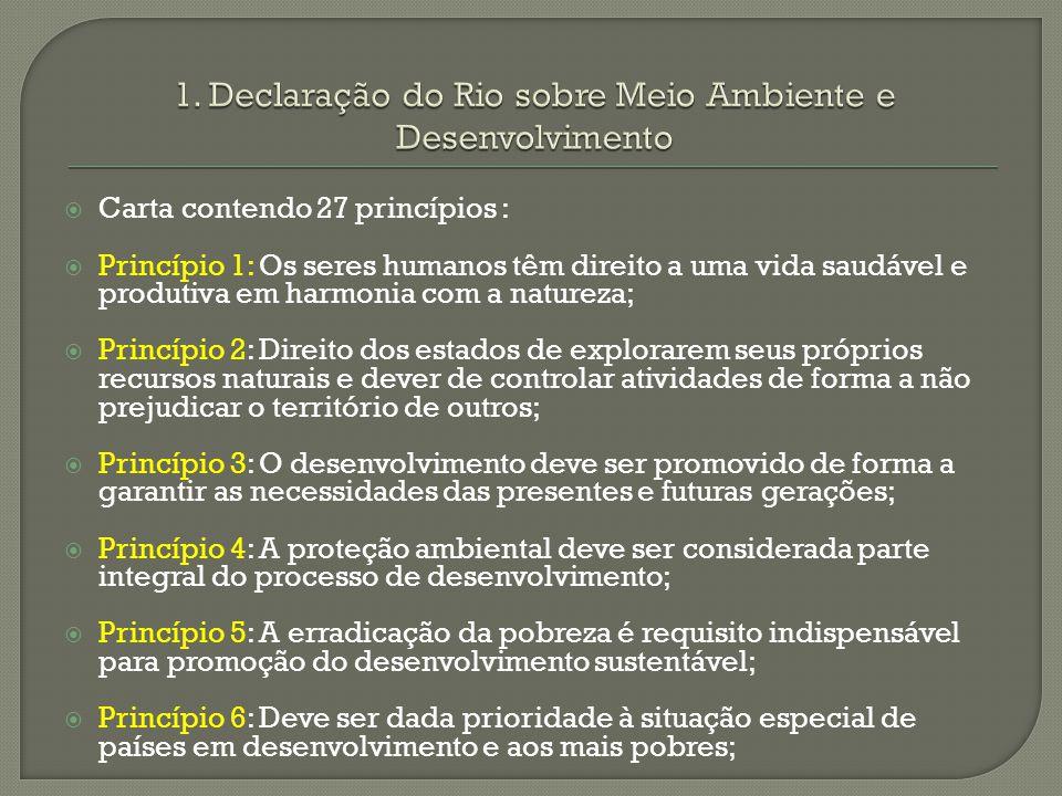 Carta contendo 27 princípios : Princípio 1: Os seres humanos têm direito a uma vida saudável e produtiva em harmonia com a natureza; Princípio 2: Dire
