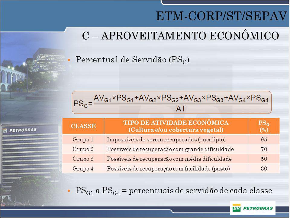 C – APROVEITAMENTO ECONÔMICO Percentual de Servidão (PS C ) AV G1 a AV G4 = áreas totais da vegetação de cada classe PS G1 a PS G4 = percentuais de se
