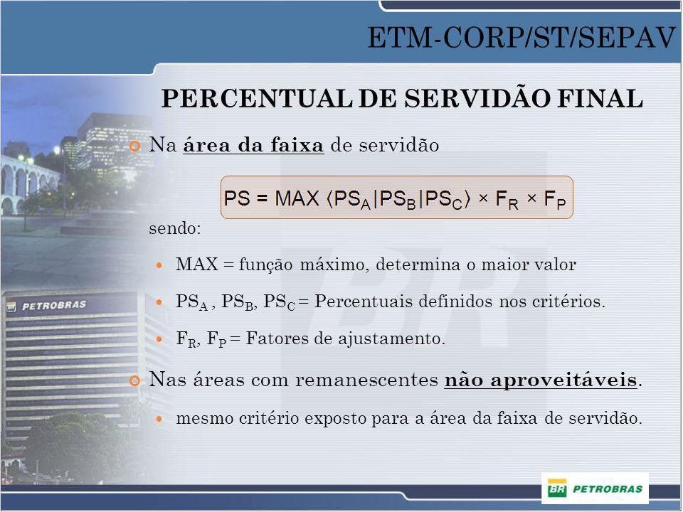 PERCENTUAL DE SERVIDÃO FINAL Na área da faixa de servidão sendo: MAX = função máximo, determina o maior valor PS A, PS B, PS C = Percentuais definidos