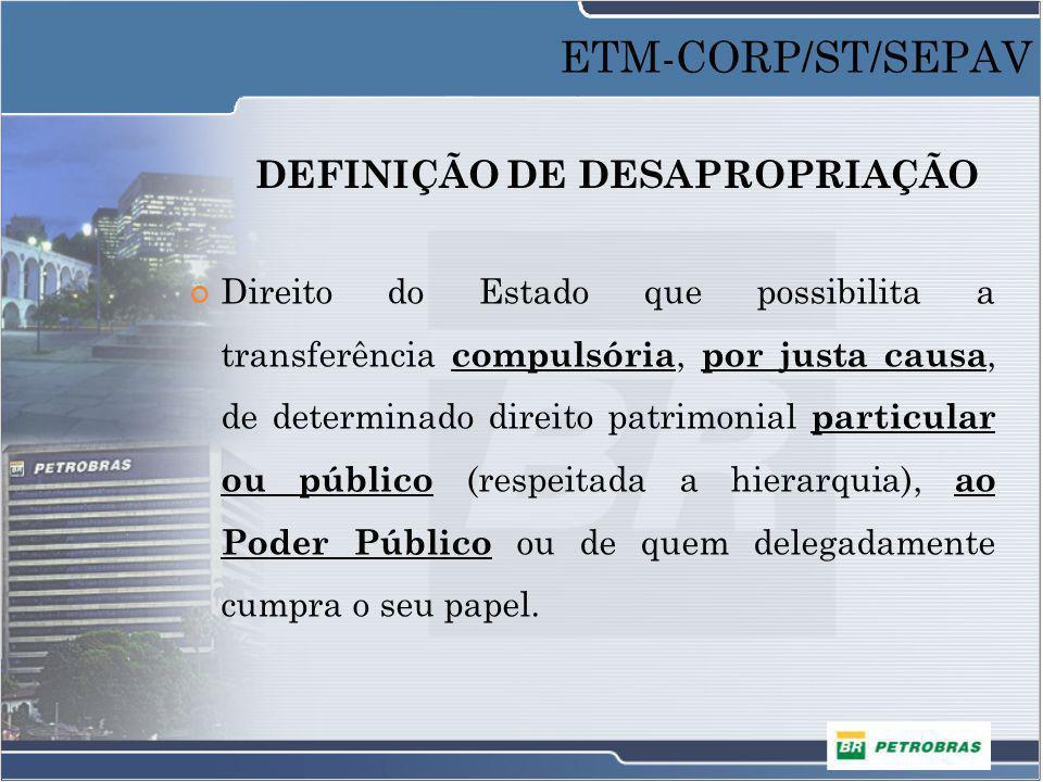 DEFINIÇÃO DE DESAPROPRIAÇÃO Direito do Estado que possibilita a transferência compulsória, por justa causa, de determinado direito patrimonial particu