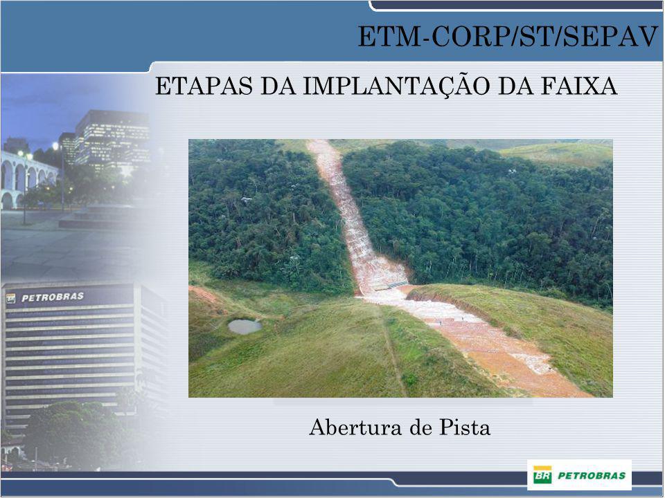 ETAPAS DA IMPLANTAÇÃO DA FAIXA Abertura de Pista ETM-CORP/ST/SEPAV