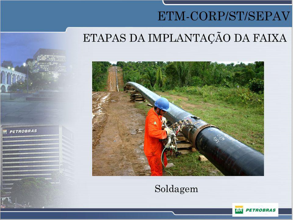 ETAPAS DA IMPLANTAÇÃO DA FAIXA Soldagem ETM-CORP/ST/SEPAV
