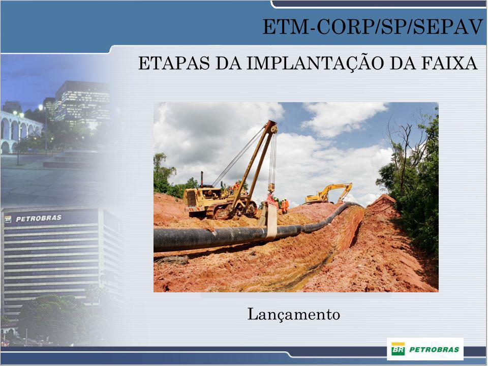 ETAPAS DA IMPLANTAÇÃO DA FAIXA Lançamento ETM-CORP/SP/SEPAV