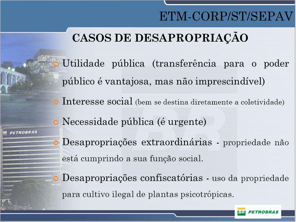 CASOS DE DESAPROPRIAÇÃO Utilidade pública (transferência para o poder público é vantajosa, mas não imprescindível) Interesse social (bem se destina di