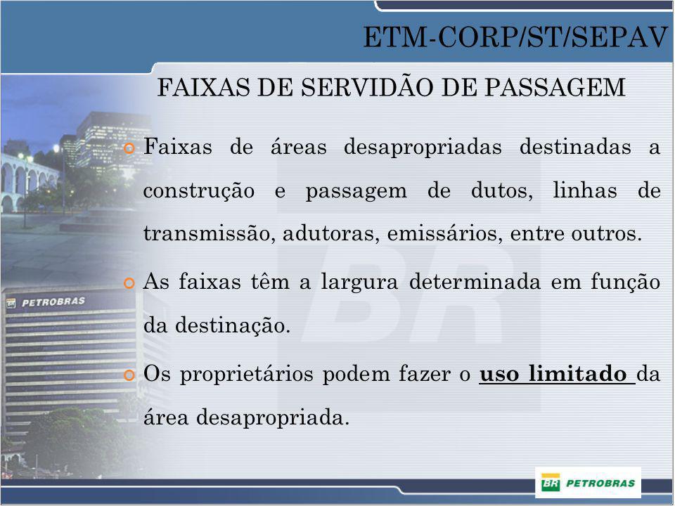 FAIXAS DE SERVIDÃO DE PASSAGEM Faixas de áreas desapropriadas destinadas a construção e passagem de dutos, linhas de transmissão, adutoras, emissários
