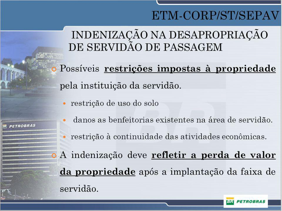INDENIZAÇÃO NA DESAPROPRIAÇÃO DE SERVIDÃO DE PASSAGEM Possíveis restrições impostas à propriedade pela instituição da servidão. restrição de uso do so