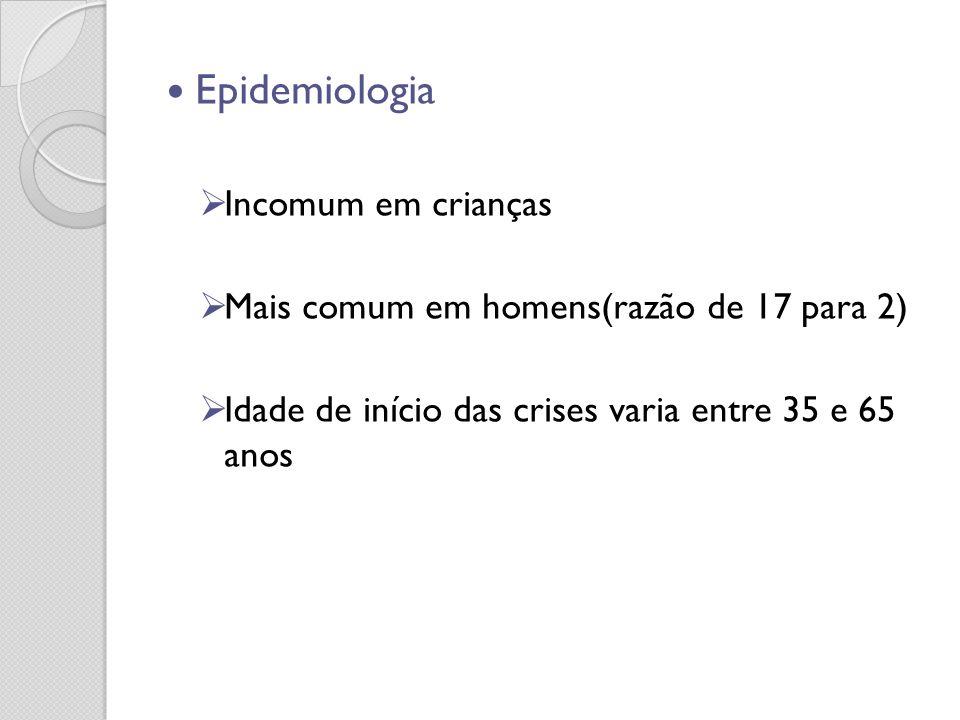 Epidemiologia Incomum em crianças Mais comum em homens(razão de 17 para 2) Idade de início das crises varia entre 35 e 65 anos
