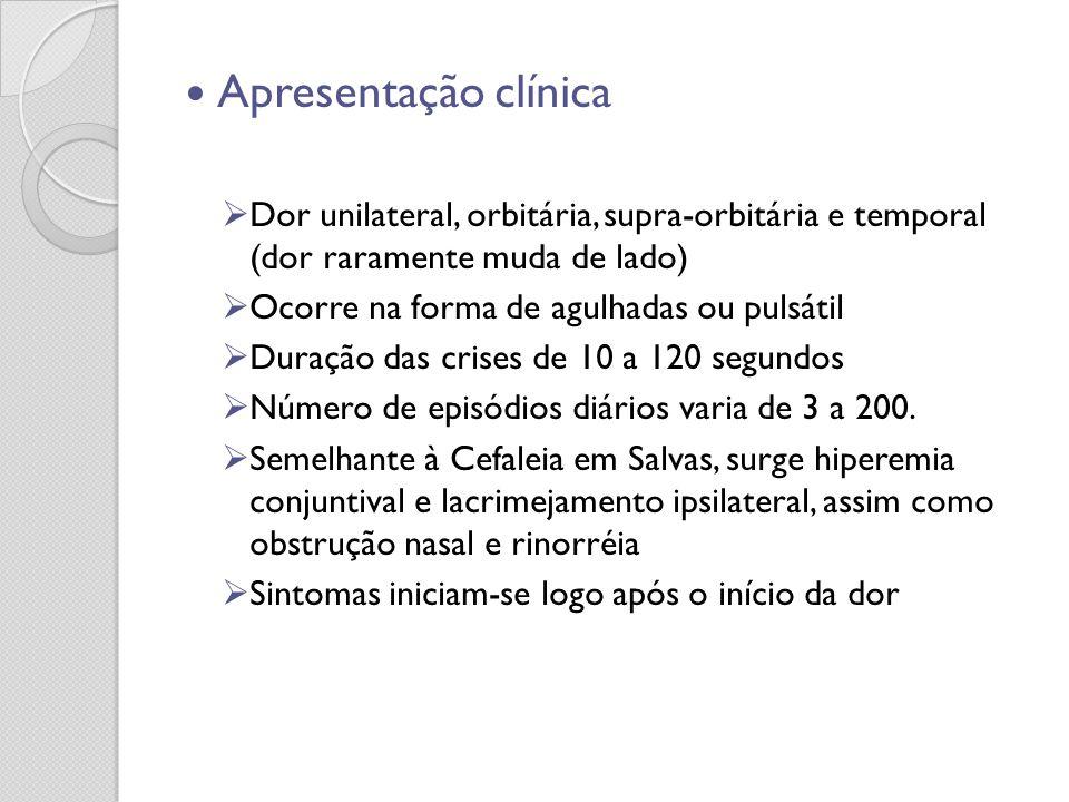 Apresentação clínica Dor unilateral, orbitária, supra-orbitária e temporal (dor raramente muda de lado) Ocorre na forma de agulhadas ou pulsátil Duraç