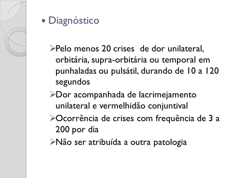 Diagnóstico Pelo menos 20 crises de dor unilateral, orbitária, supra-orbitária ou temporal em punhaladas ou pulsátil, durando de 10 a 120 segundos Dor