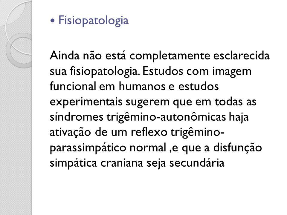 Fisiopatologia Ainda não está completamente esclarecida sua fisiopatologia. Estudos com imagem funcional em humanos e estudos experimentais sugerem qu